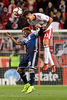 Harrison, NJ - Wednesday Feb. 22, 2017: Erik Hurtado, Aaron Long during a Scotiabank CONCACAF Champions League quarterfinal match between the New York Red Bulls and the Vancouver Whitecaps FC at Red Bull Arena.