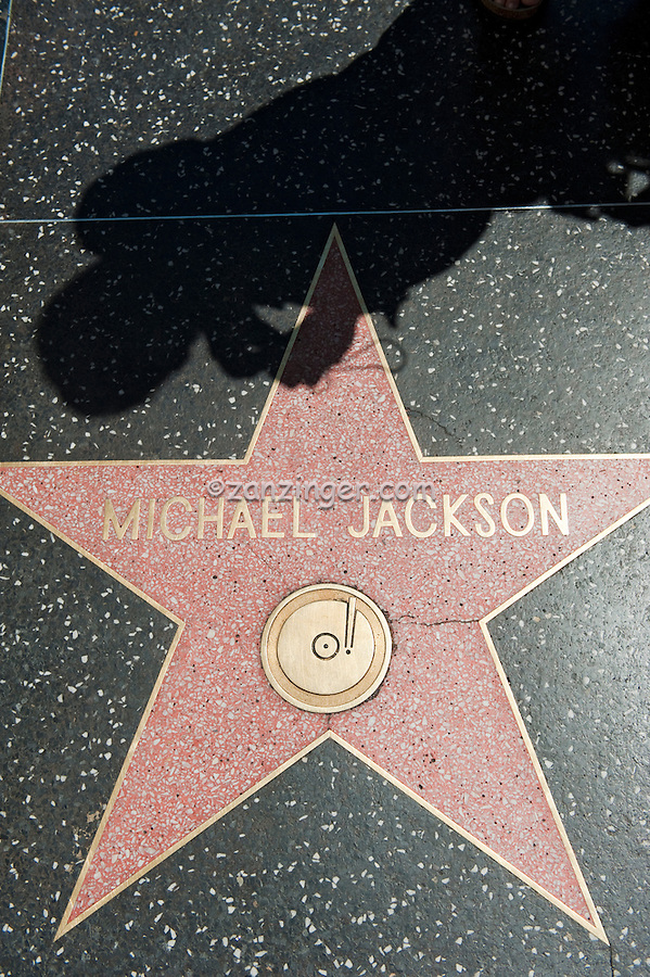 Michael Jackson, Hollywood Walk of Fame, Celebrity Star, Hollywood, CA, coral-pink terrazzo five-point star rimmed with brass, inlaid into a charcoal-colored terrazzo background