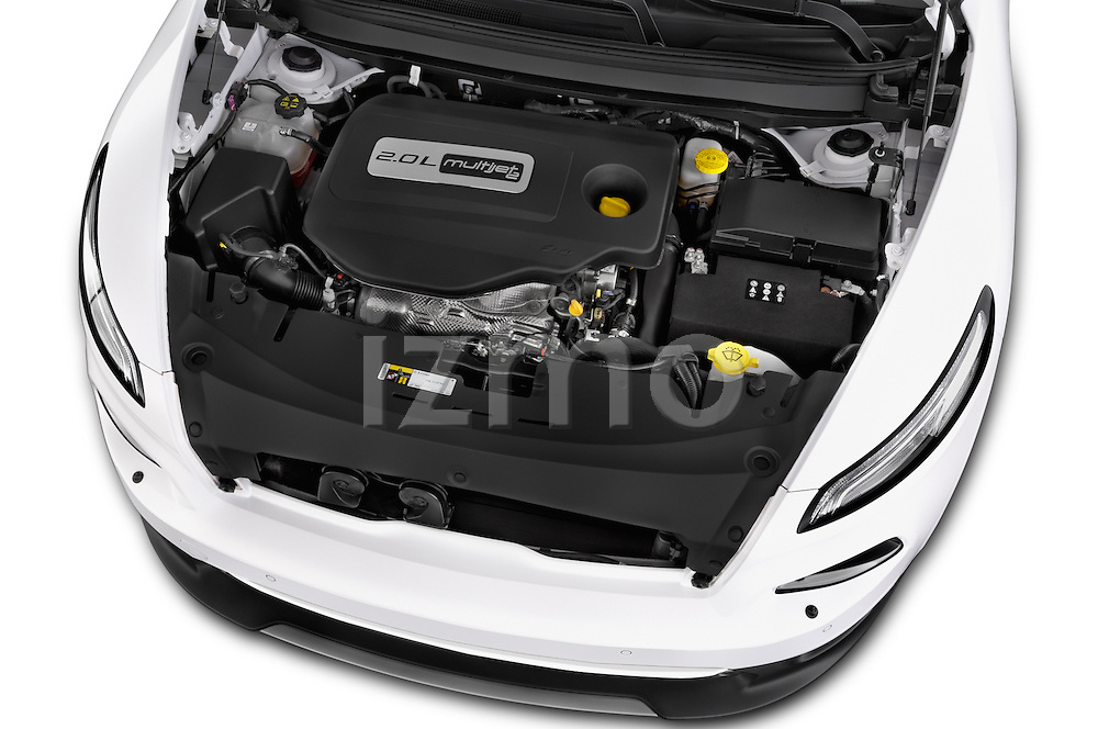 Car stock 2015 Jeep Cherokee Limited 5 Door SUV engine high angle detail view