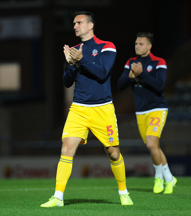 Bolton Wanderers' Jack Hobbs during the pre-match warm-up <br /> <br /> Photographer Kevin Barnes/CameraSport<br /> <br /> EFL Leasing.com Trophy - Northern Section - Group F - Rochdale v Bolton Wanderers - Tuesday 1st October 2019  - University of Bolton Stadium - Bolton<br />  <br /> World Copyright © 2018 CameraSport. All rights reserved. 43 Linden Ave. Countesthorpe. Leicester. England. LE8 5PG - Tel: +44 (0) 116 277 4147 - admin@camerasport.com - www.camerasport.com