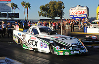 Feb. 17 2012; Chandler, AZ, USA; NHRA funny car driver Mike Neff during qualifying for the Arizona Nationals at Firebird International Raceway. Mandatory Credit: Mark J. Rebilas-