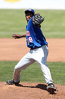 Auburn Doubledays pitcher Pedro Encarnacion #38 during a game against the Batavia Muckdogs at Dwyer Stadium on June 19, 2011 in Batavia, New York.  Auburn defeated Batavia 6-4.  (Mike Janes/Four Seam Images)
