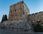 A tower in the Tower of David or the Citadel in the Armenian Quarter of the Old City of Jerusalem.  The Old City of Jerusalem and its Walls is a UNESCO World Heritage Site