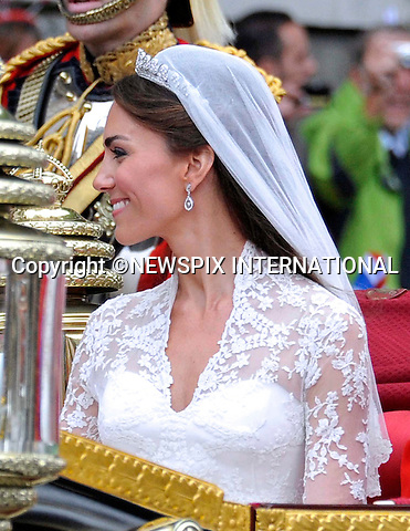 """PRINCE WILLIAM AND CATHERINE MIDDLETON .Marry at Westminster Abbey,London_29/04/2011.Mandatory Photo Credit: ©Dias/Newspix International..**ALL FEES PAYABLE  TO: """"NEWSPIX INTERNATIONAL""""**..PHOTO CREDIT MANDATORY!!: NEWSPIX INTERNATIONAL(Failure to credit will incur a surcharge of 100% of reproduction fees)..IMMEDIATE CONFIRMATION OF USAGE REQUIRED:.Newspix International, 31 Chinnery Hill, Bishop's Stortford, ENGLAND CM23 3PS.Tel:+441279 324672  ; Fax: +441279656877.Mobile:  0777568 1153.e-mail: info@newspixinternational.co.uk"""