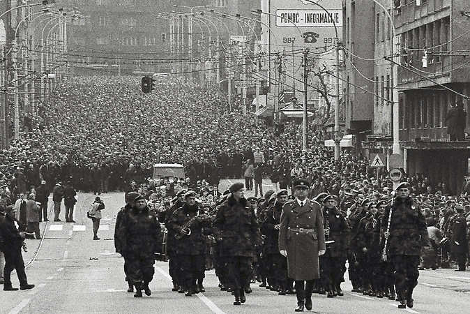 March 2003, Belgrade, Serbia  Funeral procession of Zoran Djindjic, assasinated Serbian Prme Minister.