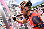 Yesterday's stage winner Vincenzo Nibali (ITA) Bahrain-Merida at sign on before the start of Stage 17 of the 100th edition of the Giro d'Italia 2017, running 219km from Tirano to Canazei, Italy. 24th May 2017.<br /> Picture: LaPresse/Gian Mattia D'Alberto | Cyclefile<br /> <br /> <br /> All photos usage must carry mandatory copyright credit (&copy; Cyclefile | LaPresse/Gian Mattia D'Alberto)