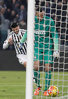 Calcio, semifinali di andata di Coppa Italia: Juventus vs Inter. Torino, Juventus Stadium, 27 gennaio 2016.<br /> Juventus' Alvaro Morata, left, celebrates after scoring his second goal as FC Inter's goalkeeper Samir Handanovic reacts during the Italian Cup semifinal first leg football match between Juventus and FC Inter at Juventus stadium, 27 January 2016.<br /> UPDATE IMAGES PRESS/Isabella Bonotto