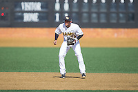 VCU Rams shortstop Vimael Machin (25) on defense against the Georgetown Hoyas at Wake Forest Baseball Park on February 13, 2015 in Winston-Salem, North Carolina.  The Rams defeated the Hoyas 6-3.  (Brian Westerholt/Four Seam Images)