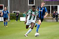 GRONINGEN - Voetbal, FC Groningen O23 - ACV, derde divisie, seizoen 2017-2018, 16-09-2017, FC Groningen speler Joel Donald in duel met ACV speler Dennis Hoekstra