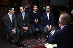 John Dickerson, Thomas Kail, Andy Blankenbuehler, Lin-Manuel Miranda and Alex Lacamoire from the 'Hamilton' creative team during a CBS Morning News interview taping with John Dickerson at The Library of Congress on December 2, 2018 in Washington, D.C.
