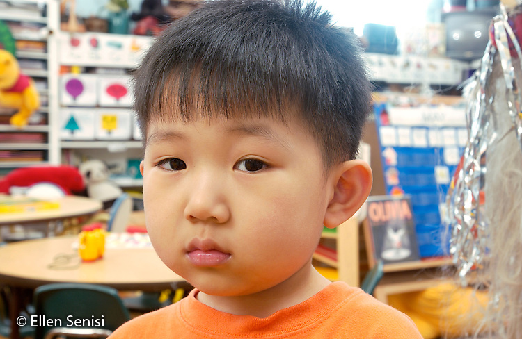 MR / Schenectady, NY.Yates Arts-in-Education Magnet School.Full-Day Pre-K class; urban school.State Funded through NYS Universal Pre-K Program.Portrait of boy (3, Korean-American)..MR: Kim1.©Ellen B. Senisi