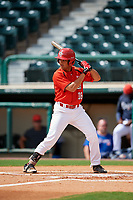 Canadian Junior National Team TJ Schofield-Sam (18) at bat during a Florida Instructional League game against the Atlanta Braves on October 9, 2018 at the ESPN Wide World of Sports Complex in Orlando, Florida.  (Mike Janes/Four Seam Images)