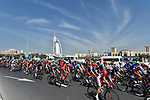 The peloton pass by the Burj al Arab during Stage 1 The Nakheel Stage of the Dubai Tour 2018 the Dubai Tour&rsquo;s 5th edition, running 167km from Skydive Dubai to Palm Jumeirah, Dubai, United Arab Emirates. 6th February 2018.<br /> Picture: LaPresse/Fabio Ferrari | Cyclefile<br /> <br /> <br /> All photos usage must carry mandatory copyright credit (&copy; Cyclefile | LaPresse/Fabio Ferrari)