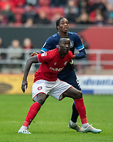 Huddersfield Town's Terence Kongolo (right) vies for possession with Bristol City's Famara Diedhiou (left) <br /> <br /> Photographer David Horton/CameraSport<br /> <br /> The EFL Sky Bet Championship - Bristol City v Huddersfield Town - Saturday 30th November 2019 - Ashton Gate Stadium - Bristol<br /> <br /> World Copyright © 2019 CameraSport. All rights reserved. 43 Linden Ave. Countesthorpe. Leicester. England. LE8 5PG - Tel: +44 (0) 116 277 4147 - admin@camerasport.com - www.camerasport.com