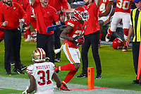2nd February 2020, Miami Gardens, Florida, USA;   Kansas City Chiefs Cornerback Bashaud Breeland (21) goes out of bounds after he makes an interception during the first quarter of Super Bowl LIV on February 2, 2020 at Hard Rock Stadium in Miami Gardens