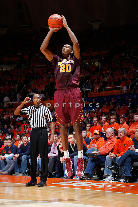 CHAMPAIGN, IL - JANUARY 9: Austin Hollins #20 of the Minnesota Golden Gophers shoots the ball against the Illinois Fighting Illini during the game at Assembly Hall on January 9, 2013 in Champaign, Illinois. Minnesota won 84-67. Austin Hollins