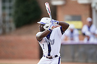 Josh Greene (1) of the High Point Panthers at bat against the NJIT Highlanders during game one of a double-header at Williard Stadium on February 18, 2017 in High Point, North Carolina.  The Panthers defeated the Highlanders 11-0.  (Brian Westerholt/Four Seam Images)