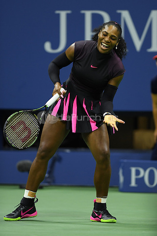 FLUSHING NY- AUGUST 30: Serena Williams Vs Ekaterina Kakarova on Arthur Ashe Stadium at the USTA Billie Jean King National Tennis Center on August 30, 2016 in Flushing Queens. Credit: mpi04/MediaPunch