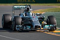 March 14, 2014: Nico Rosberg (DEU) from the Mercedes AMG Petronas F1 Team during practice session two at the 2014 Australian Formula One Grand Prix at Albert Park, Melbourne, Australia. Photo Sydney Low.