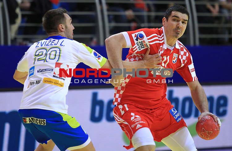 18.01.2012., Millennium Hall, Vrsac, Srbija - 10th men's european handball championship, group D, Slovenia - Croatia. Denis Buntic. <br /> <br /> Foto &copy;  nph / PIXSELL / Antonio Bronic