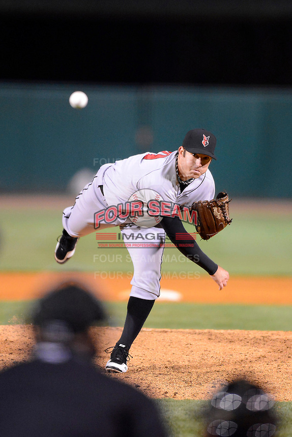 Indianapolis Indians pitcher Bryan Morris #29 during a game against the Louisville Bats on April 19, 2013 at Louisville Slugger Field in Louisville, Kentucky.  Indianapolis defeated Louisville 4-1.  (Mike Janes/Four Seam Images)