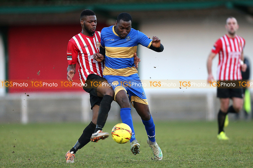 Jonathan Adebayo of Romford and Usman Adeniji of Hornchurch during AFC Hornchurch vs Romford, Ryman League Division 1 North Football at Hornchurch Stadium on 4th February 2017