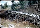 Abandoned RGS Bridge 18-D near Sams.<br /> RGS  Sams, CO  Taken by Dorman, Richard L. - ca. 1970-1979