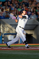 Grant Heyman (12) of the Hillsboro Hops at bat during a game against the Tri-City Dust Devils at Ron Tonkin Field in Hillsboro, Oregon on August 24, 2015.  Tri-City defeated Hillsboro 5-1. (Ronnie Allen/Four Seam Images)