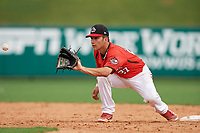 Canadian Junior National Team Austin Gomm (27) waits to receive a throw from the catcher during a Florida Instructional League game against the Atlanta Braves on October 9, 2018 at the ESPN Wide World of Sports Complex in Orlando, Florida.  (Mike Janes/Four Seam Images)