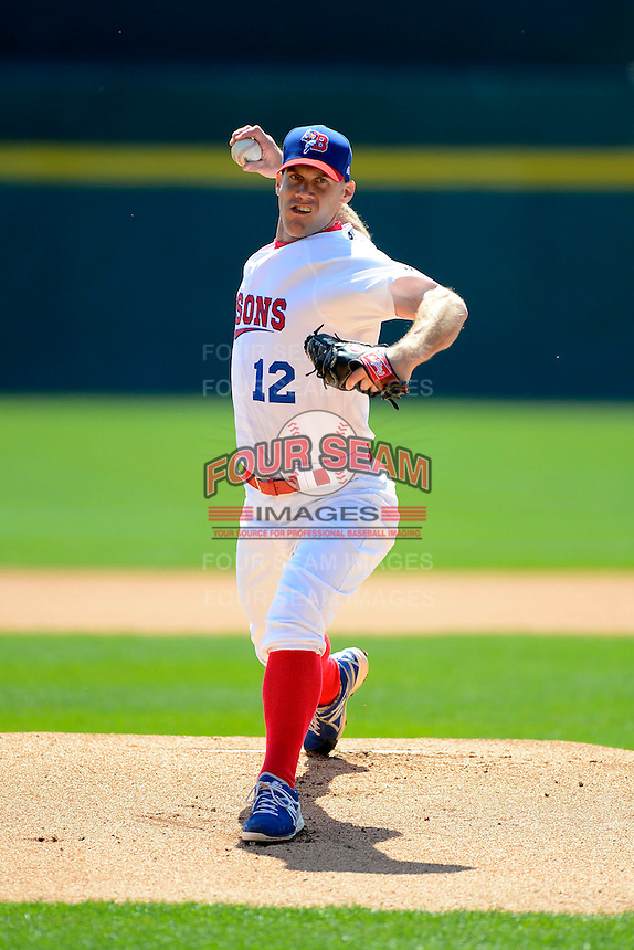 Buffalo Bisons starting pitcher David Bush #12 during the first game of a doubleheader against the Pawtucket Red Sox on April 25, 2013 at Coca-Cola Field in Buffalo, New York.  Pawtucket defeated Buffalo 8-3.  (Mike Janes/Four Seam Images)