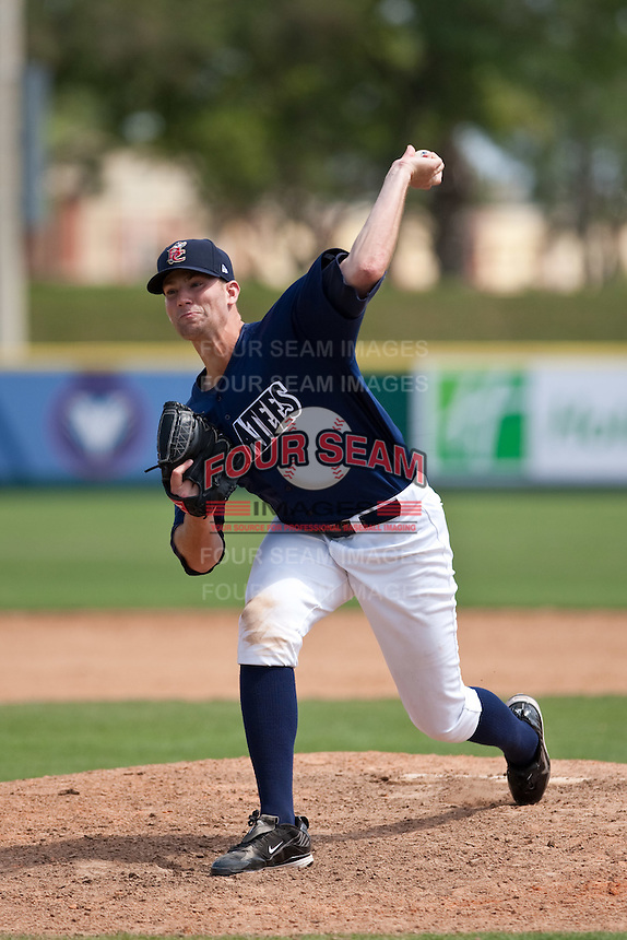 April 11th 2010: Evan Frederickson of the Brevard County Manatees, the Florida State League High-A affiliate of the Milwaukee Brewers in a game against the of the Daytona Cubs, the Florida State League High-A affiliate of the Chicago Cubs at Space Coast Stadium in Viera, FL (Photo By Scott Jontes/Four Seam Images)
