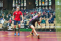 Simon Roesner (GER) vs. Borja Golan (ESP) in the second round of the 2014 METROsquash Windy City Open held at the University Club of Chicago in Chicago, IL on February 28, 2014