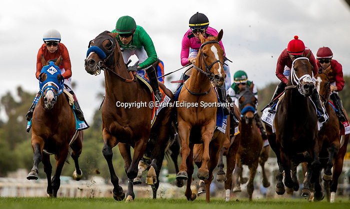 MAR 07: Kingly with Mario Gutierrez battles with Got Stormy and Tyler Gaffalione early in the Kilroe Mile at Santa Anita Park in Arcadia, California on March 7, 2020. Evers/Eclipse Sportswire/CSM