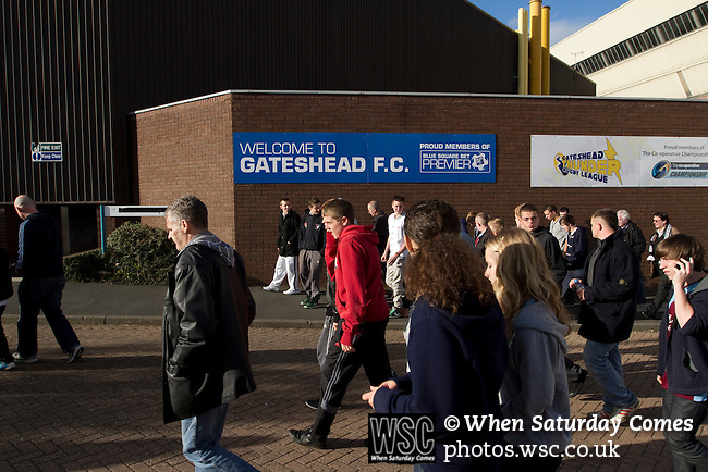Gateshead 1 Cambridge United 1, 17/09/2011. Gateshead International Stadium, Football Conference. Fans making their way out of the Gateshead International Stadium, the athletics stadium which is also the home ground of Gateshead FC, as the club play host to Cambridge United in a Blue Square Bet Premier division fixture. The match ended in a one-all draw, watched by a crowd of 904. The point meant Gateshead went to the top of the division, one below the Football League in England. Photo by Colin McPherson.