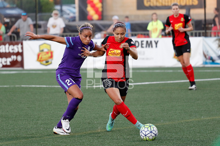 Rochester, NY - Saturday June 11, 2016: Western New York Flash defender Jaelene Hinkle (15), Orlando Pride defender Monica Hickman Alves (21) during a regular season National Women's Soccer League (NWSL) match between the Western New York Flash and the Orlando Pride at Rochester Rhinos Stadium.