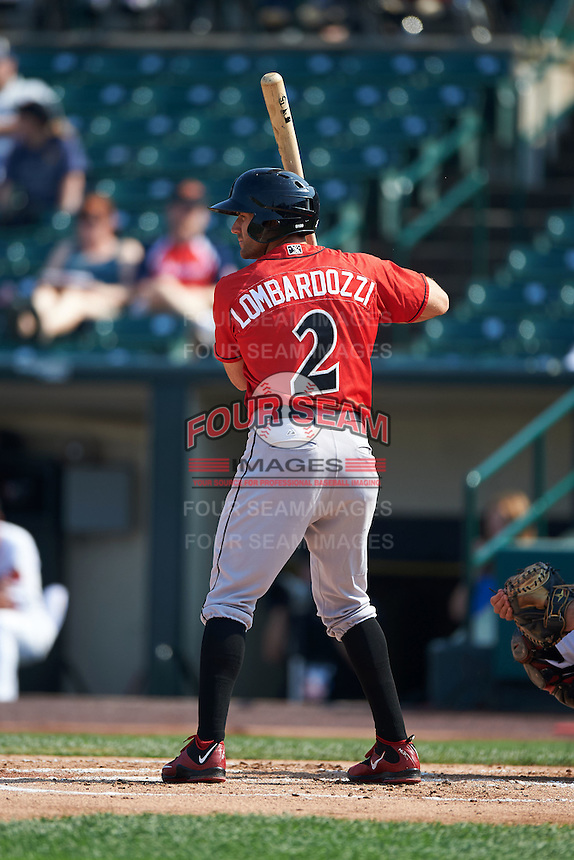 Indianapolis Indians third baseman Steve Lombardozzi (2) at bat during a game against the Rochester Red Wings on June 10, 2015 at Frontier Field in Rochester, New York.  Indianapolis defeated Rochester 5-3.  (Mike Janes/Four Seam Images)