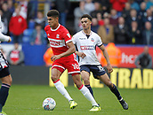 9th September 2017, Macron Stadium, Bolton, England; EFL Championship football, Bolton Wanderers versus Middlesbrough; Ashley Fletcher of Middlesbrough takes the ball away from Antonee Robinson of Bolton