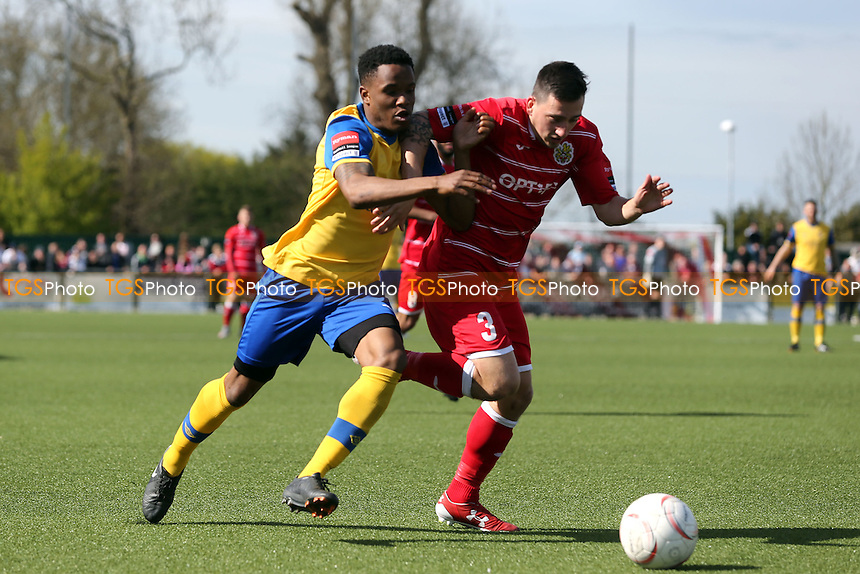 Tambeson Eyong of AFC Hornchurch and Layne Eadie of Harlow Town during Harlow Town vs AFC Hornchurch, Ryman League Divison 1 North Play-Off Final Football at The Harlow Arena on 1st May 2016