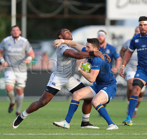 25th August 2017, Donnybrook Stadium, Dublin, Ireland; Pre Season Rugby Friendly; Leinster Rugby versus Bath Rugby; Semesa Rokoduguni (Bath) tackles Barry Daly (Leinster)