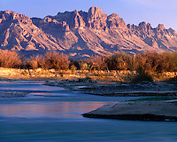 Sunrise light on the Chisos Mountains and the Rio Grande River on the River Road; Big Bend National Park, TX