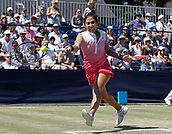 June 18th 2017, The Northern Lawn tennis Club, Manchester, England; ITF Womens tennis tournament; Zarina Dyas (KAZ) in action during her singles final match win against Number seven seed Aleksandra Krunic (SRB); Dyas won in straight sets
