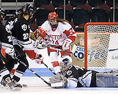Amber Yung (Providence - 23), Jonnie Bloemers (BU - 11), Melissa Anderson (BU - 24), Genevieve LaCasse (Providence - 27) - The Boston University Terriers defeated the Providence College Friars 5-3 on Saturday, November 14, 2009, at Agganis Arena in Boston, Massachusetts.