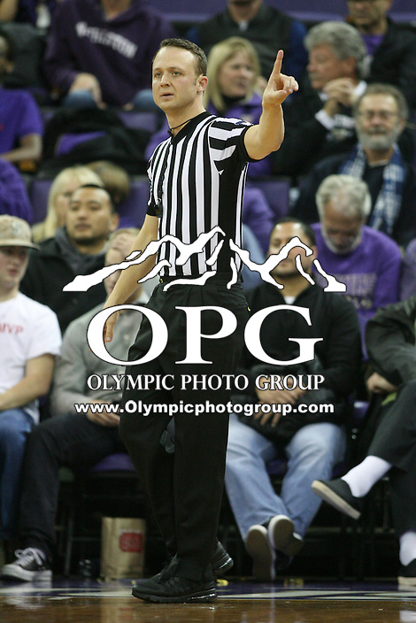 Dec 19, 2015:  NCAA Basketball official Nate Harris was on hand for the game between Washington and Oakland.  Oakland defeated Washington 97-83 at Alaska Airlines Arena in Seattle, WA.