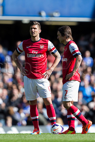 22.03.2014  London, England.  Arsenal forward Olivier GIROUD looks disheartened after seeing his side go behind so early during the Premier League game between Chelsea and Arsenal from Stamford Bridge.