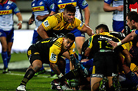 Te Toiroa Tahuriorangi passes from a ruck during the Super Rugby match between the Hurricanes and Stormers at Westpac Stadium in Wellington, New Zealand on Friday, 5 May 2017. Photo: Mike Moran / lintottphoto.co.nz