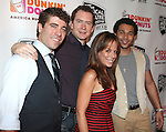 (L-R) Adam Monley, Omar Lopez-Cepero, Leslie Kritzer and Corbin Bleu.backstage at the New York Musical Theatre Festival at the NYMF Hub in Times Square, New York on 7/3/2012.