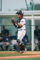 GCL Pirates catcher Robinson Ramos (66) during the second game of a doubleheader against the GCL Yankees East on July 31, 2018 at Pirate City Complex in Bradenton, Florida.  GCL Pirates defeated GCL Yankees East 12-4.  (Mike Janes/Four Seam Images)