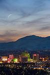 Reno, Nevada downtown skyline at sunset.
