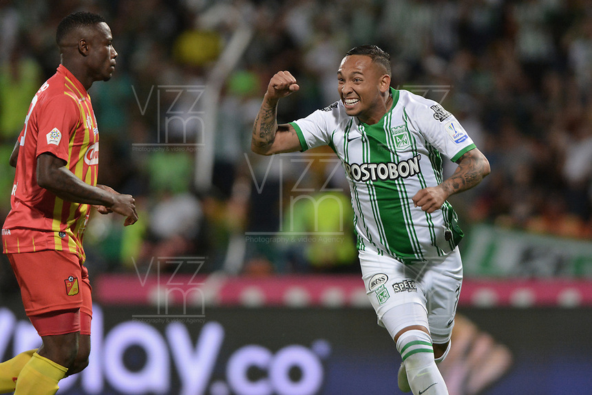 MEDELLIN - COLOMBIA, 26-01-2020: Jarlan Barrera del Nacional celebra después de anotar el primer gol de su equipo partido por la fecha 1 de la Liga BetPlay DIMAYOR I 2020 entre Atlético Nacional y Deportivo Pereira jugado en el estadio Atanasio Girardot de la ciudad de Medellín. / Jarlan Barrera of Nacional celebrates after scoring the first goal of his team during match for the date 1 as part of BetPlay DIMAYOR League I 2020 between Atletico Nacional and Deportivo Pereira played at Atanasio Girardot stadium in Medellín city. Photo: VizzorImage / Leon Monsalve / Cont