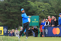 Lucas Bjerregaard (DEN) on the 12th tee during 1st round of the 148th Open Championship, Royal Portrush golf club, Portrush, Antrim, Northern Ireland. 18/07/2019.<br /> Picture Thos Caffrey / Golffile.ie<br /> <br /> All photo usage must carry mandatory copyright credit (© Golffile | Thos Caffrey)